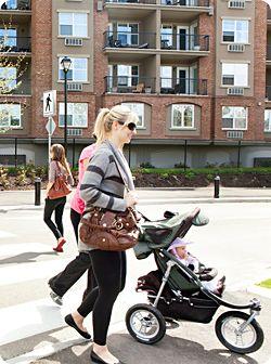 lady pushing stroller